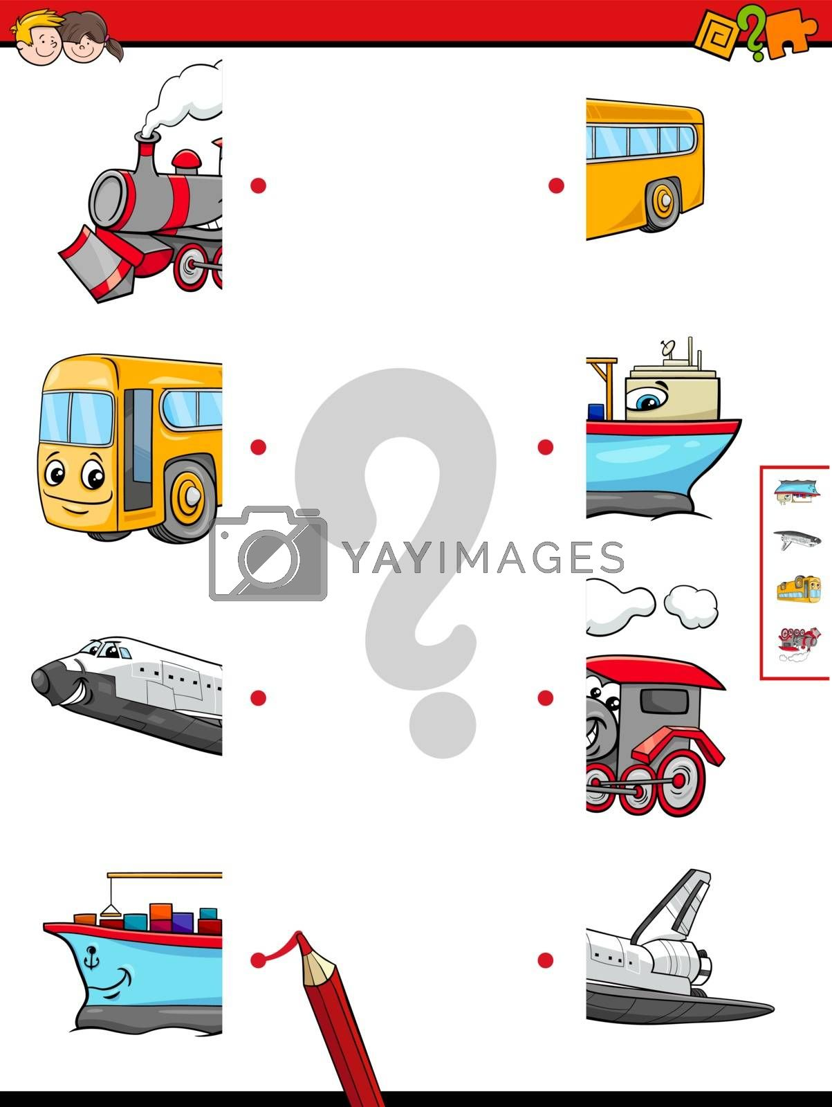 Cartoon Illustration of Educational Game of Matching Halves with Transportation Characters
