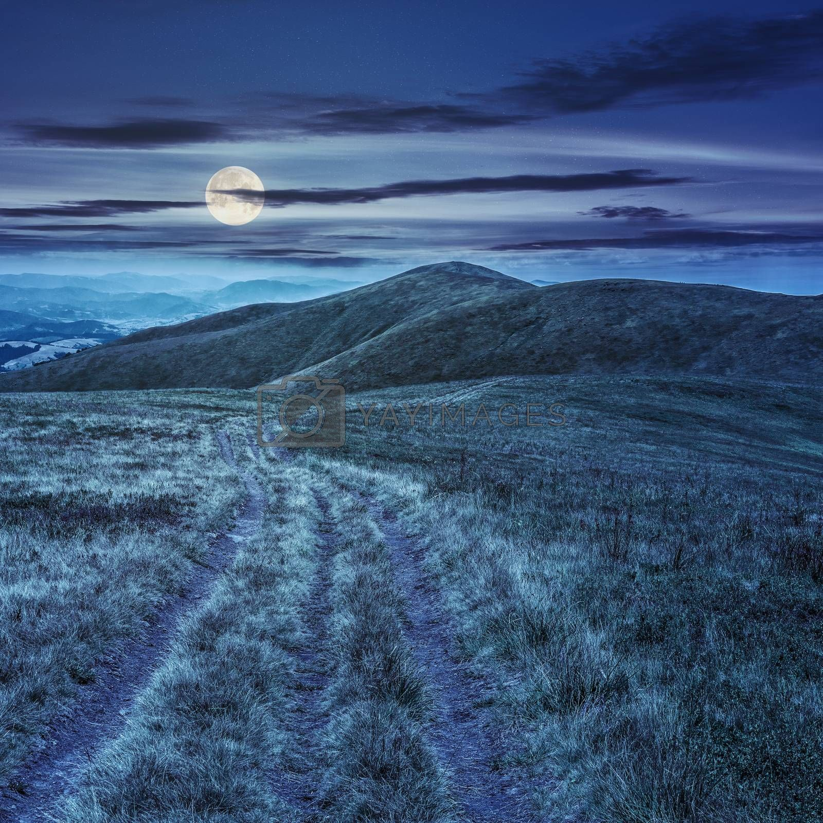 mountain landscape. curve path through the meadow on hillside at night in full moon light