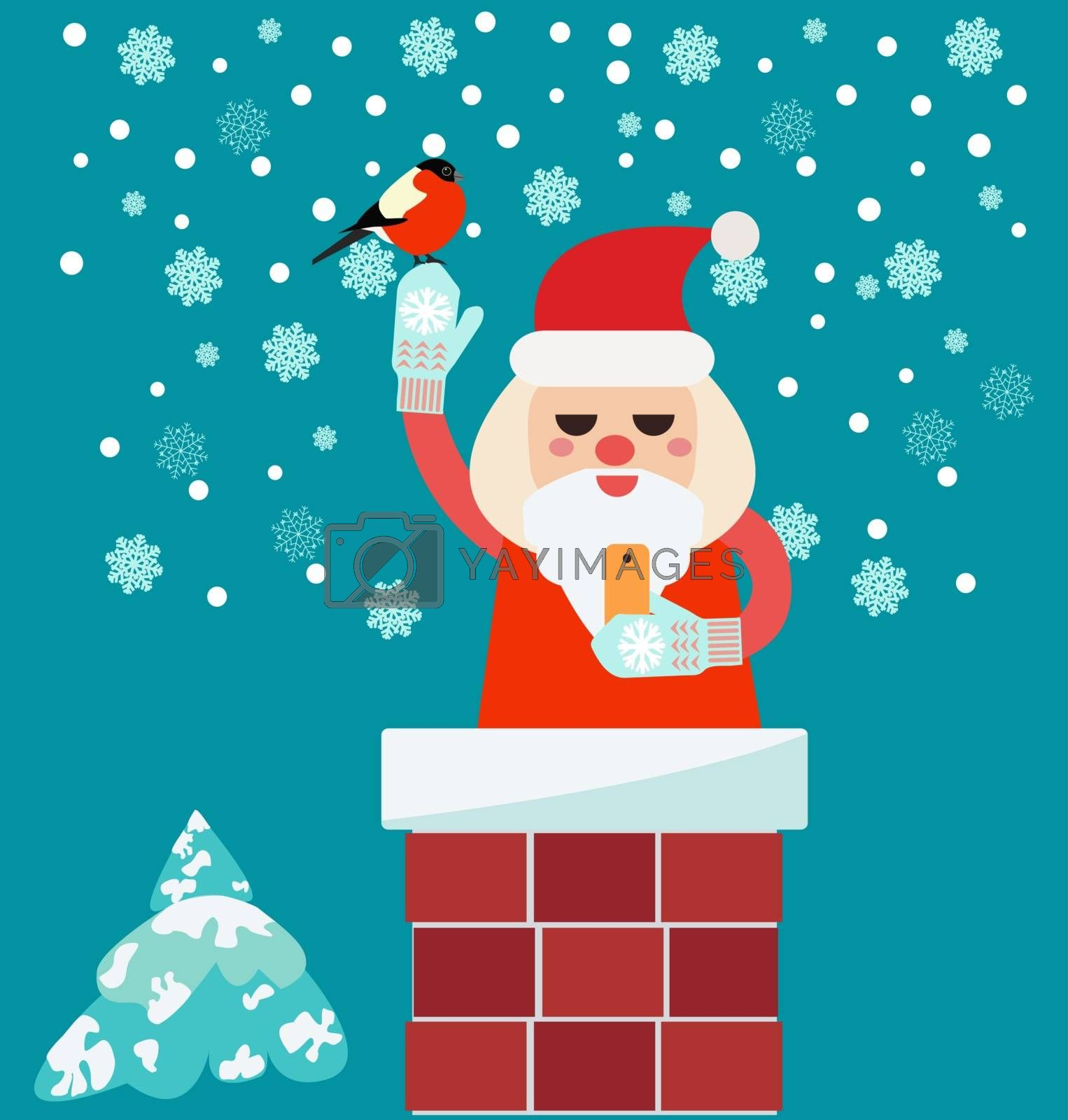 Christmas card with Santa Claus in Chimney  holding smart phone and bullfinch
