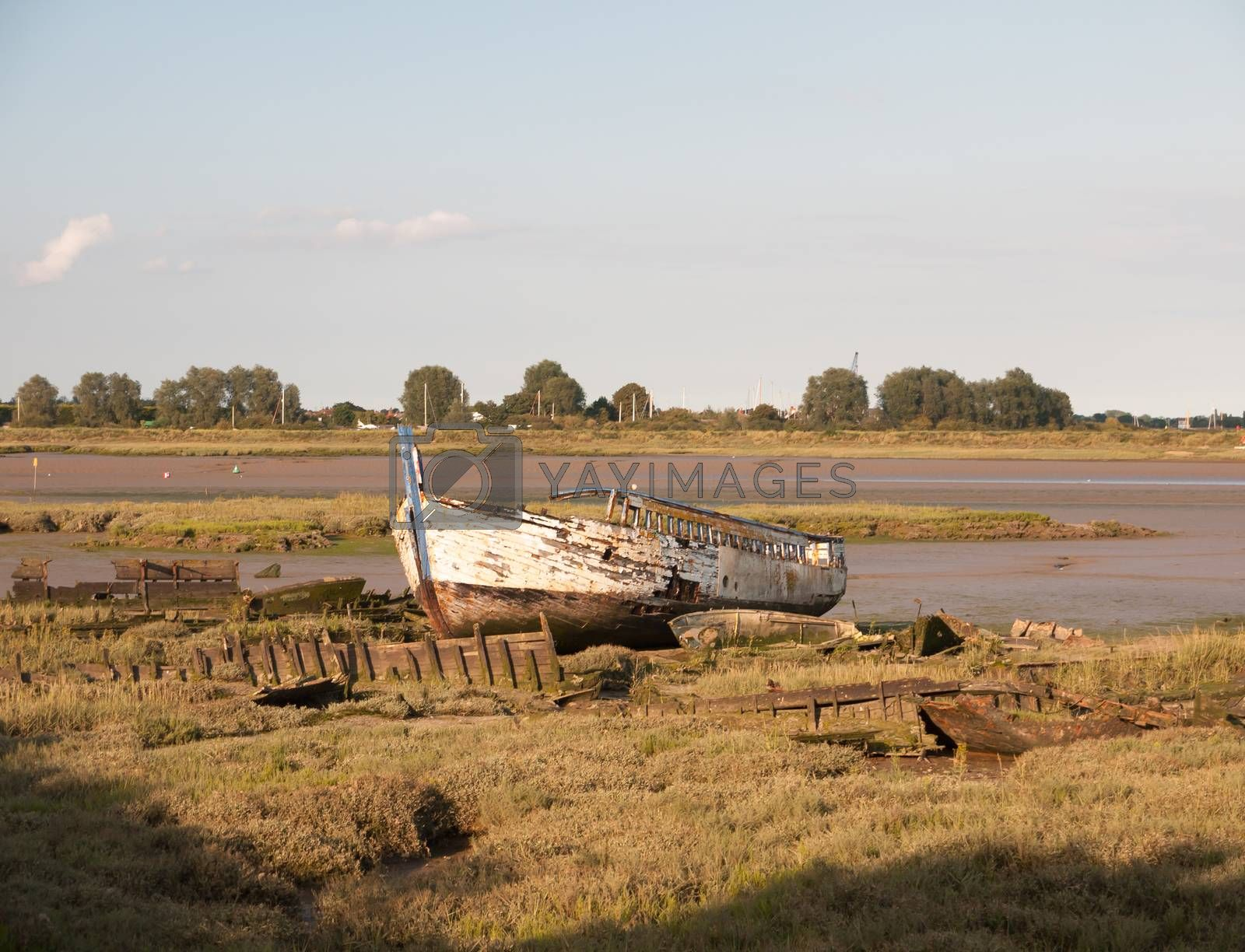 moored old rusted white wooden boat big in the sun light at edge of river black water Maldon;Essex; England; UK