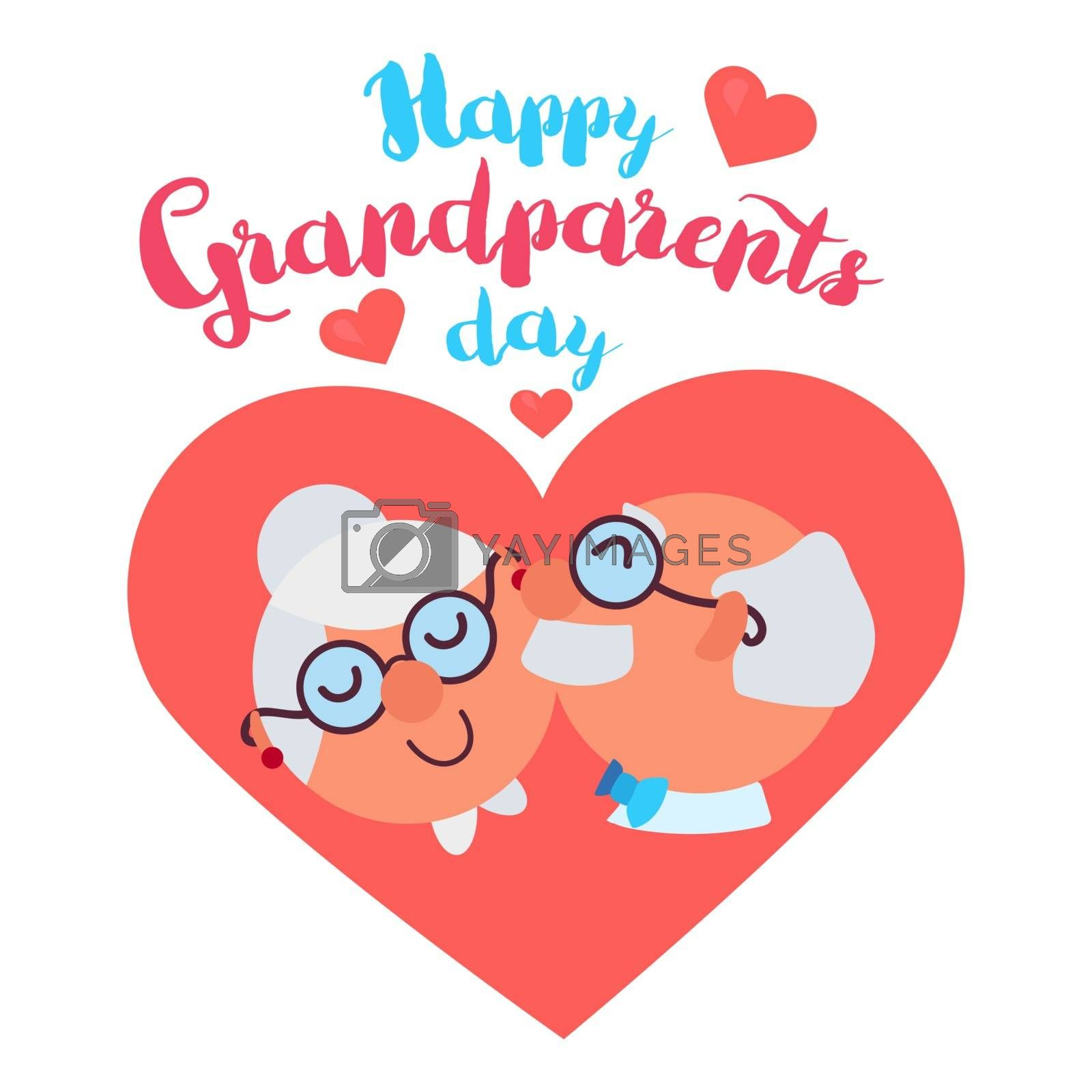 Happy Grandparents Day Greeting Banner with dancing and smiling grandfather and grandmother. Vector