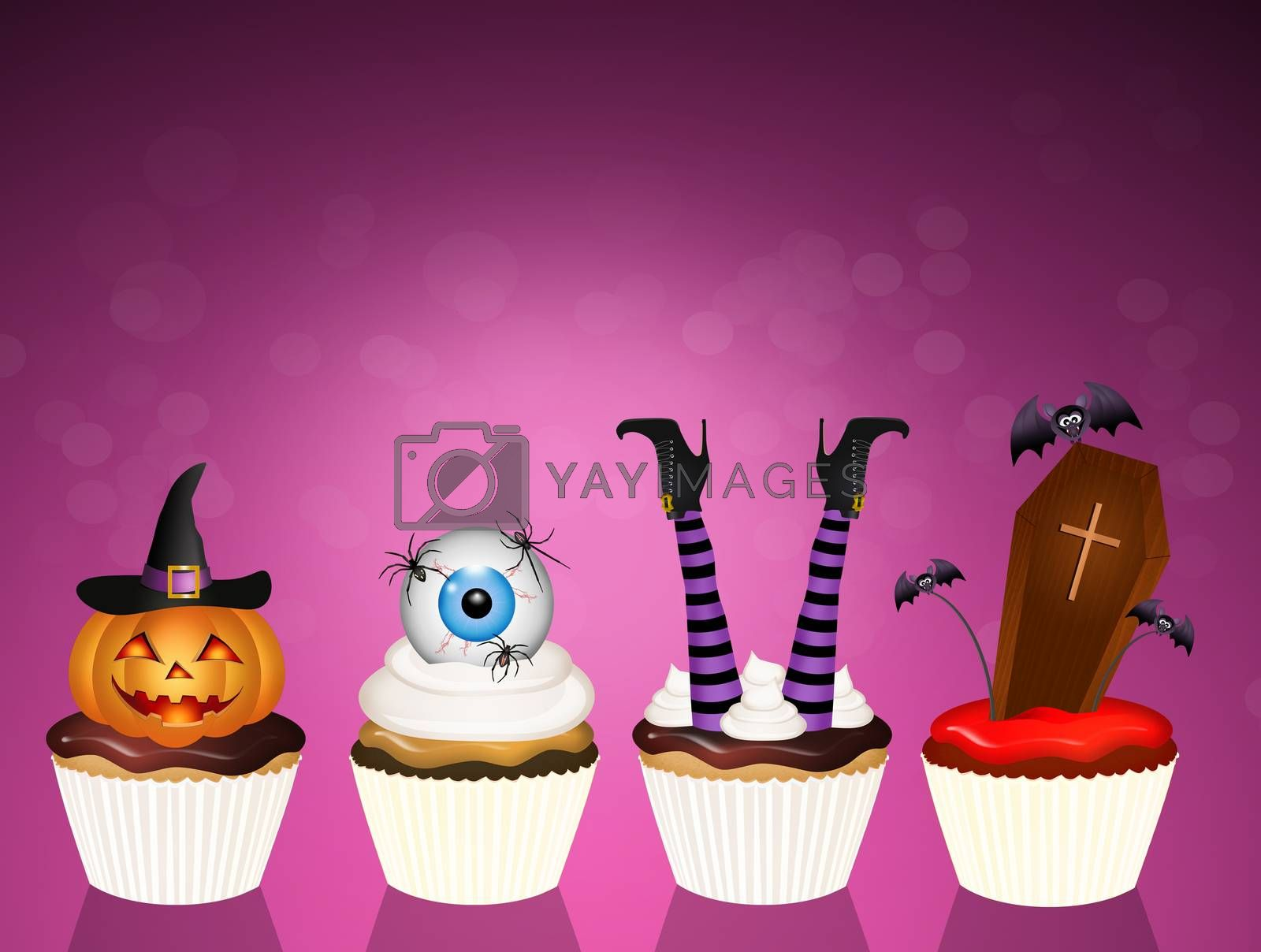 illustration of trick or treat of Halloween