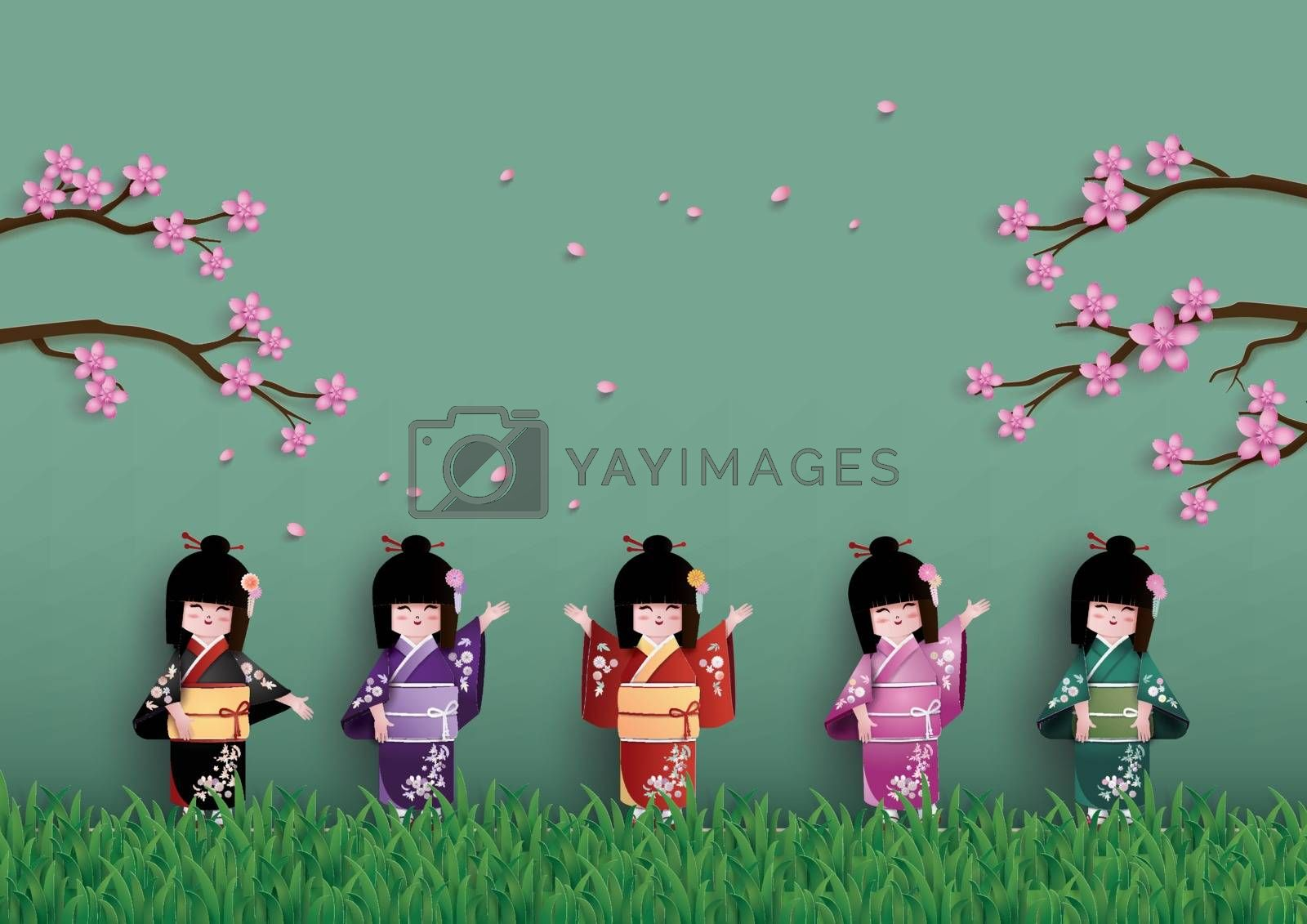 Illustration of nature with spring season, Japanese girls wearing national dress happily. Under the cherry (sakura) trees are blossoming.paper art and craft style.