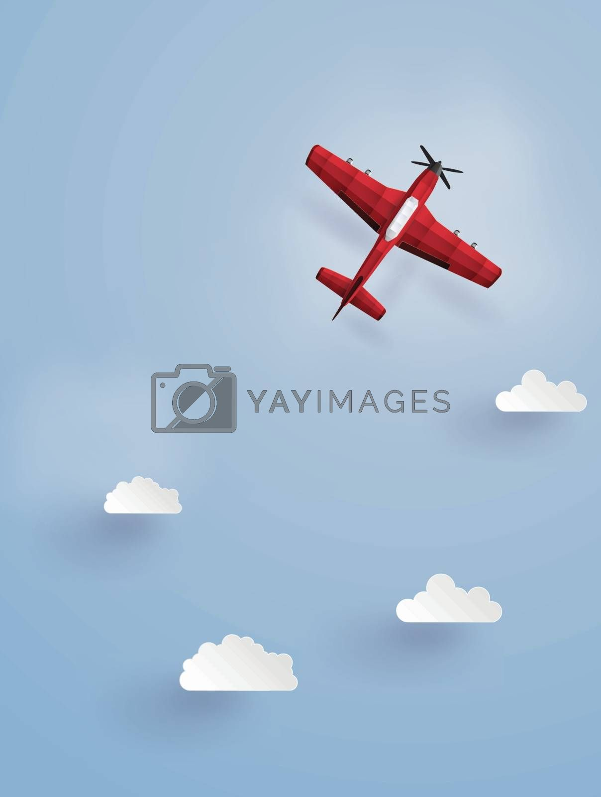 red plane flying  on the sky.The illustrations do the same paper art and craft style.