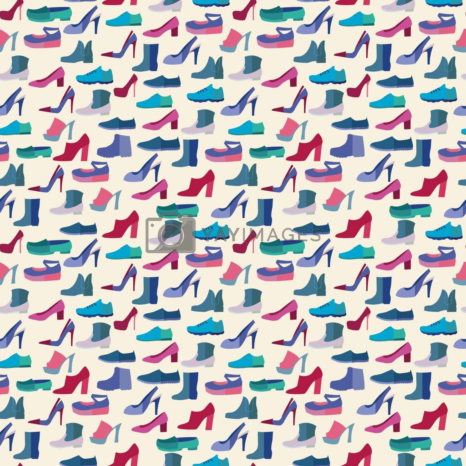 Set of Vector shoes fashion collection seamless pattern.  background of Different types of male and female shoes in flat