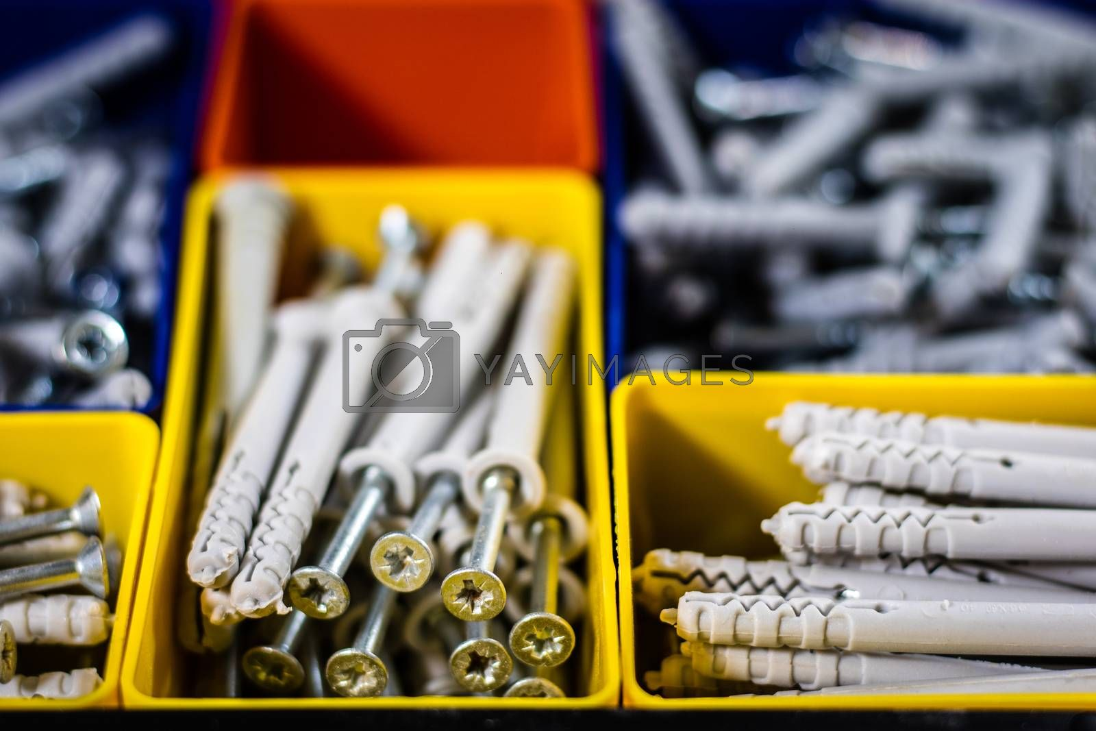Screws segregated in plastic colored containers. Box for builder and DIY. Black background.