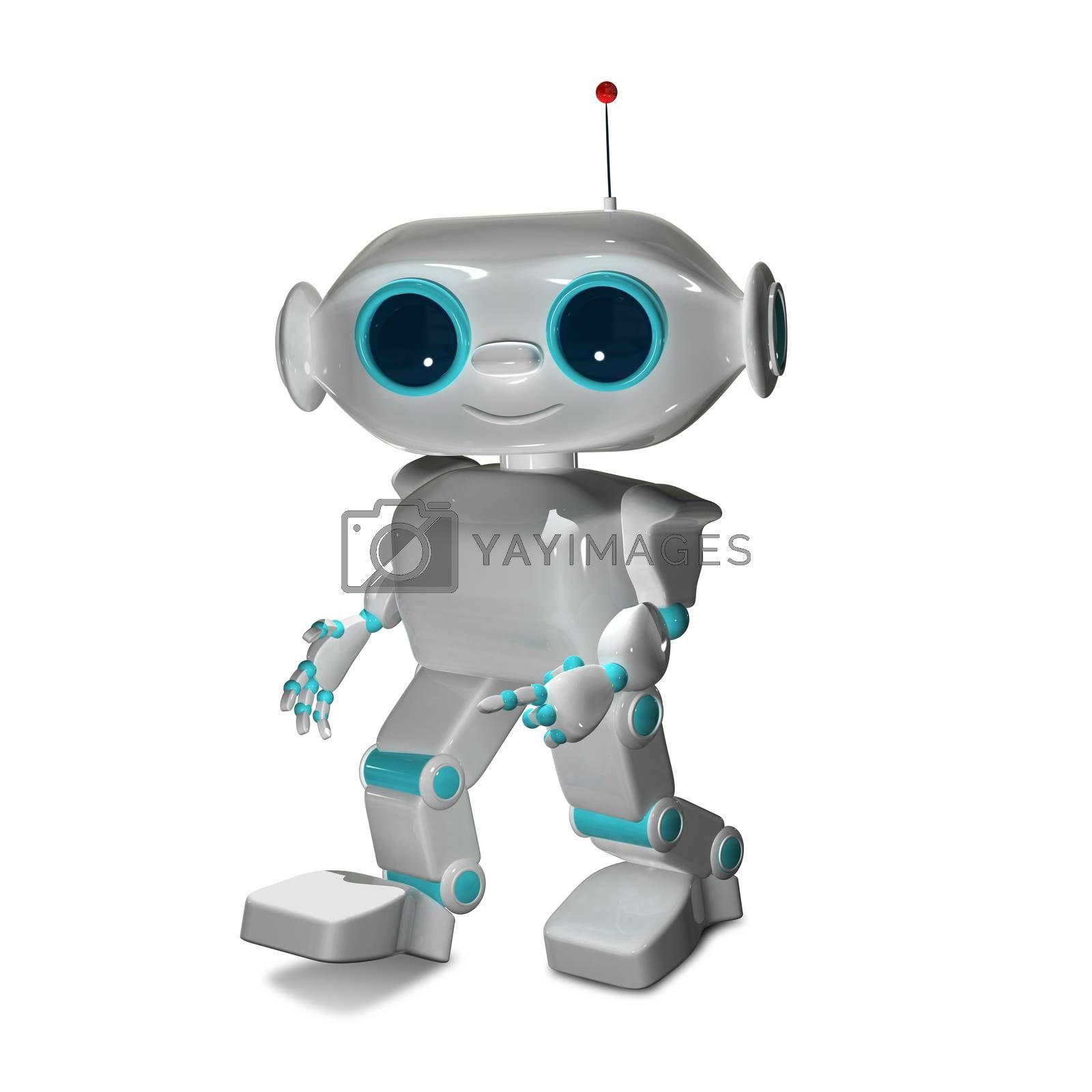 3D Illustration The Little White Robot with Antennas