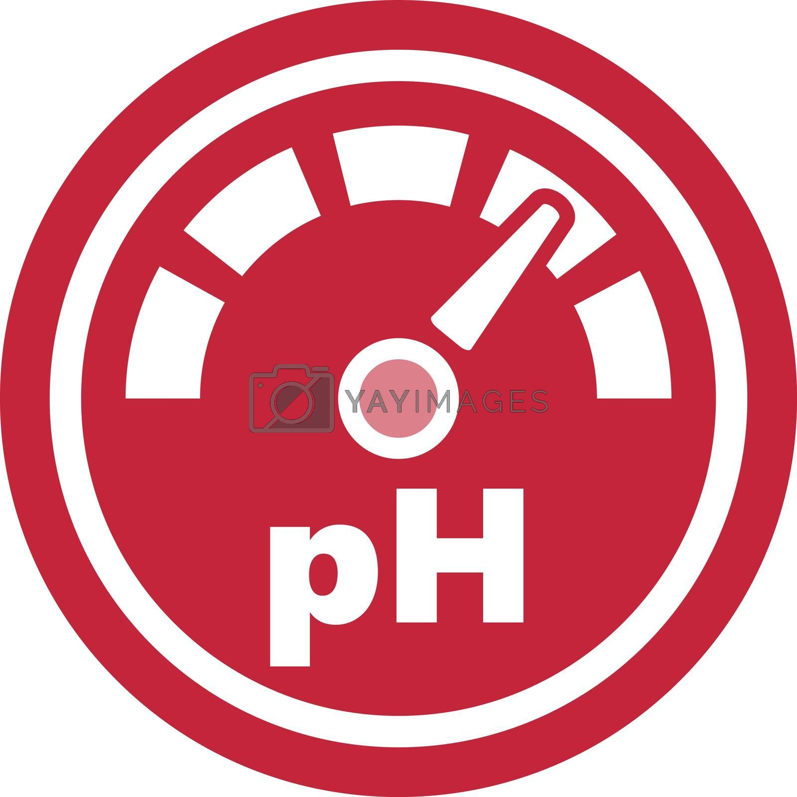 pH increase measurement red round icon