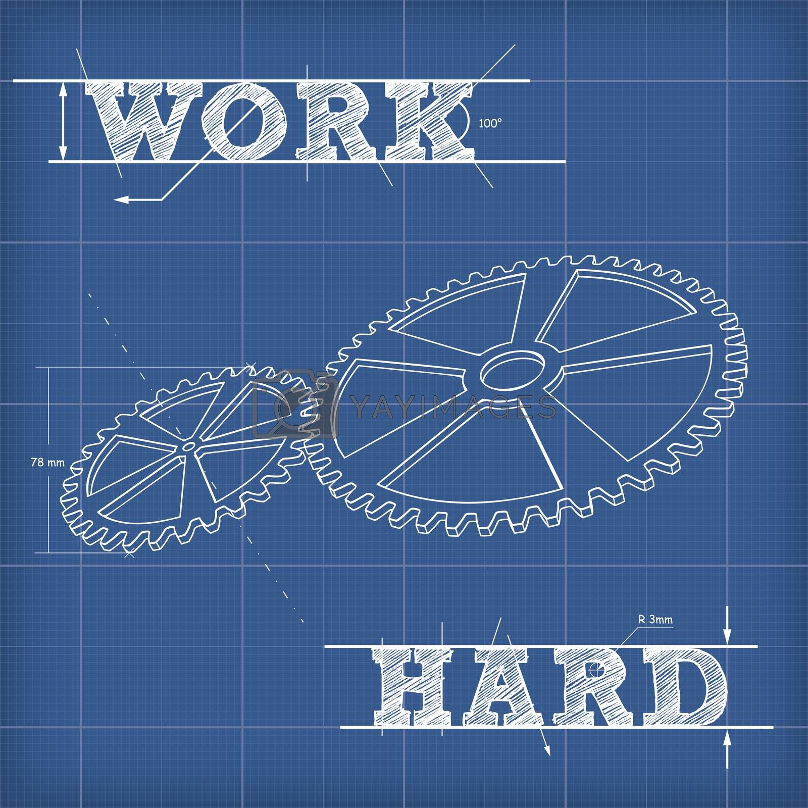 White contour drawing of two gears. Blueprint poster with a motivating phrase Work Hard
