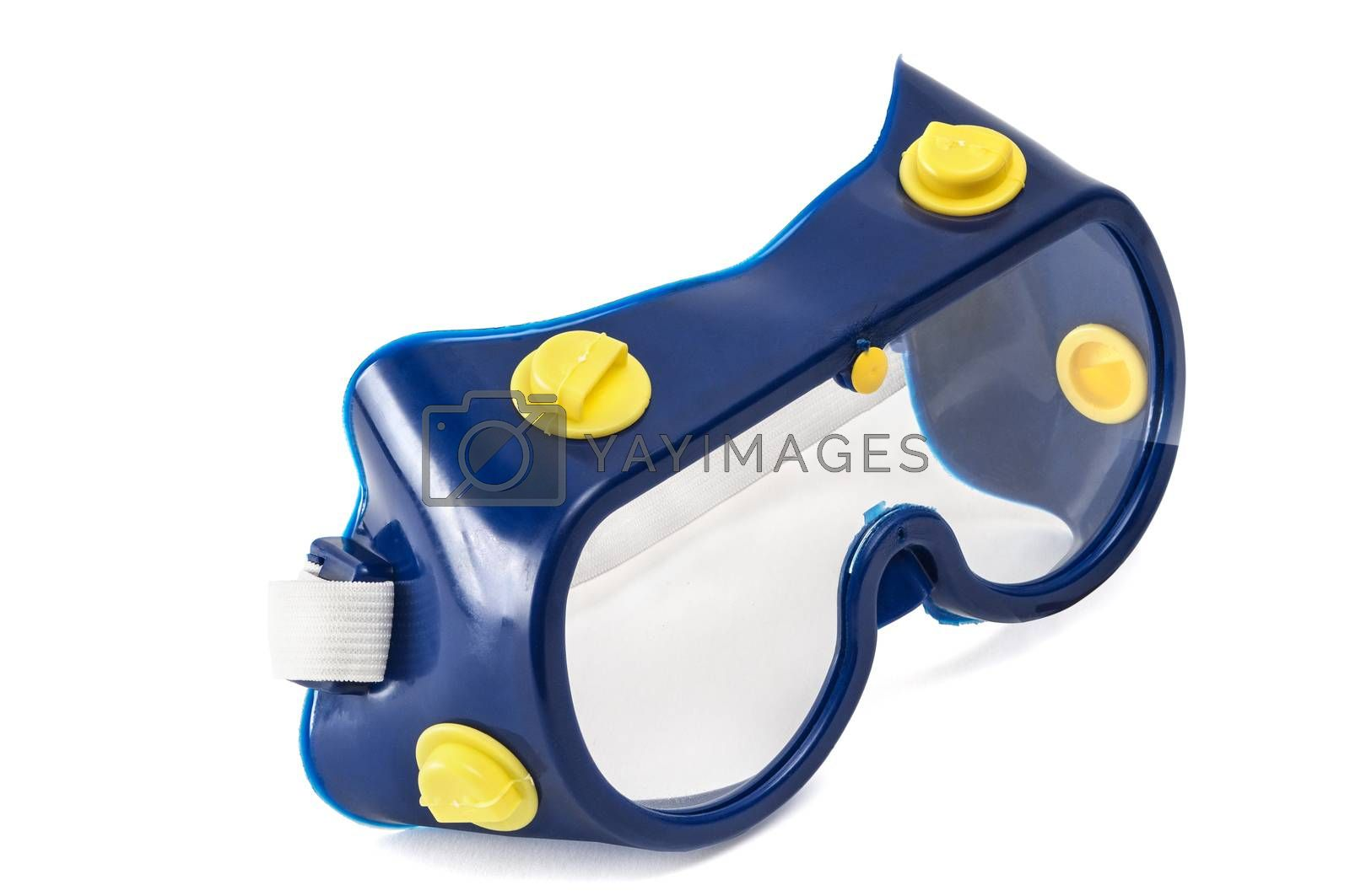 blue Safety glasses isolated on a white background