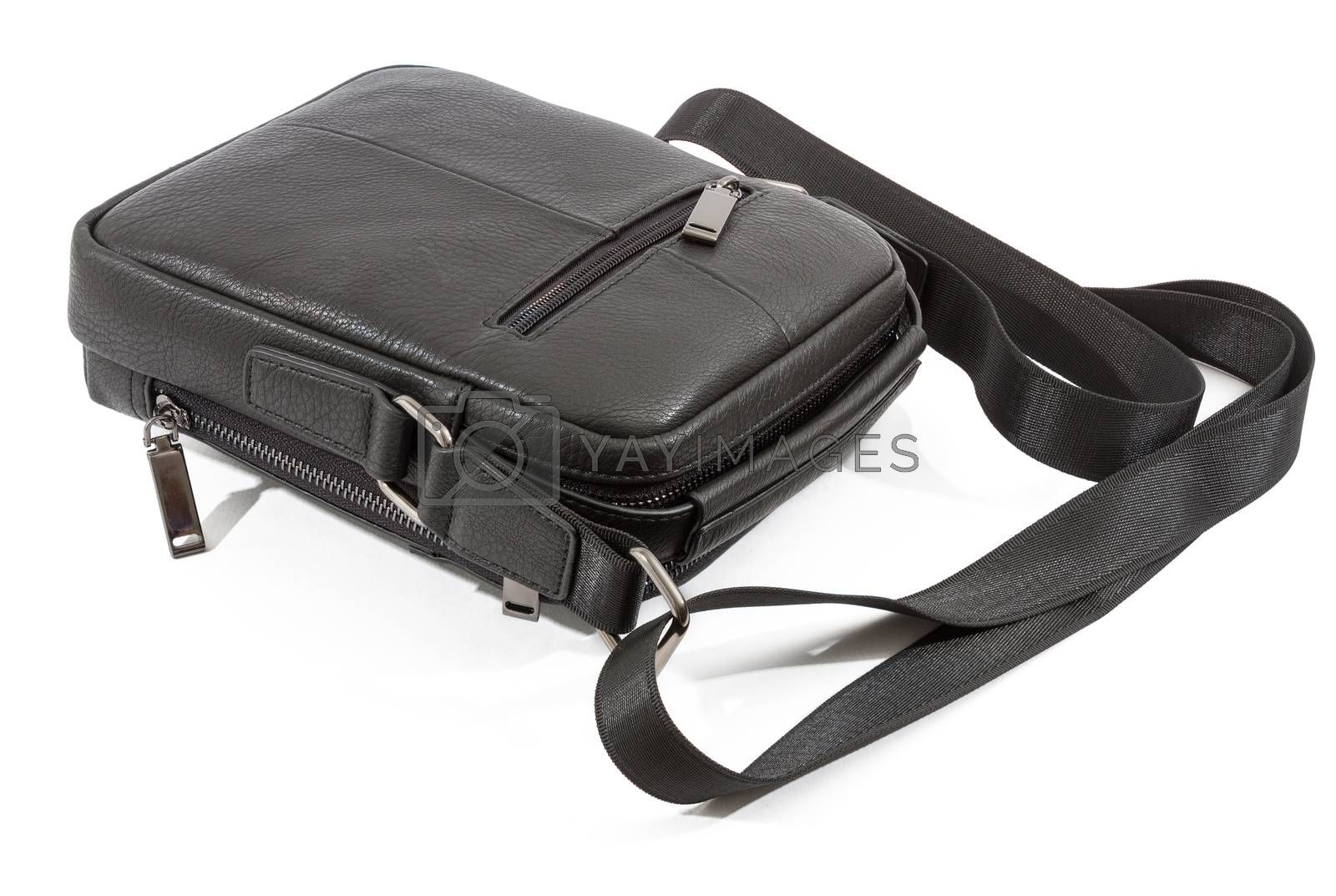mens black leather bag isolated on white background