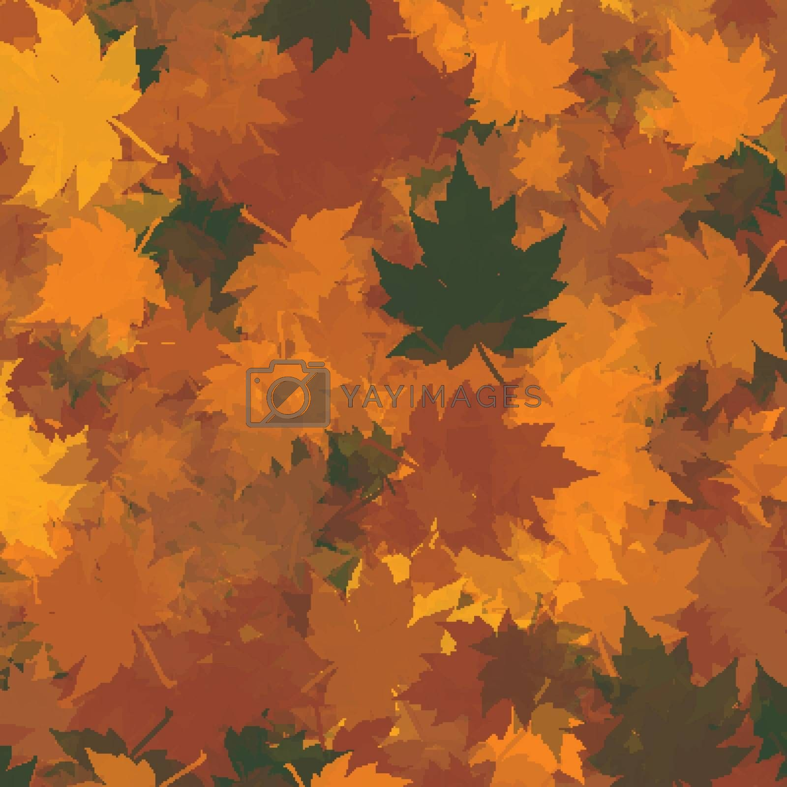 Red, Orange and Green Autumn Maple Leaves Vector Background