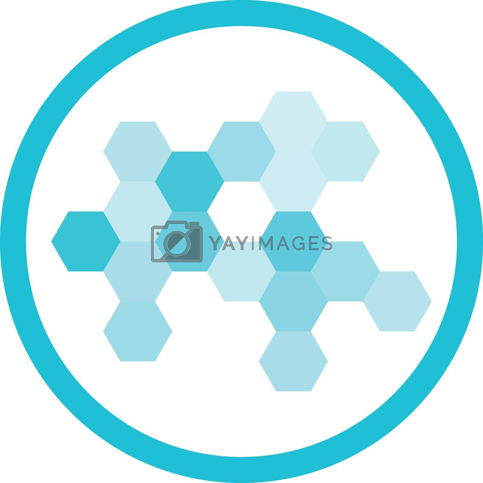 Nanotechnology cell structure hi-tech blue round vector icon