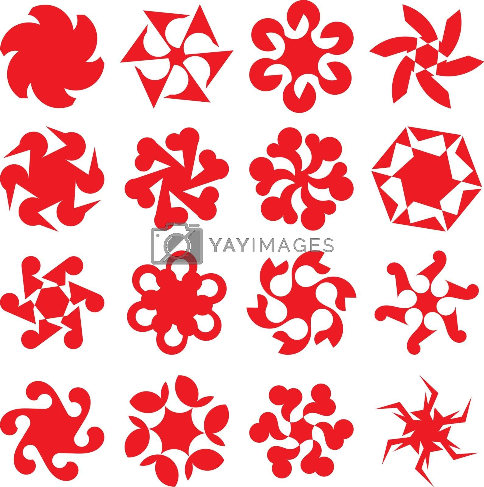 Set of abstract geometric red circular shapes. Symmetric center shapes. Ornament design elements. Vector illustration.