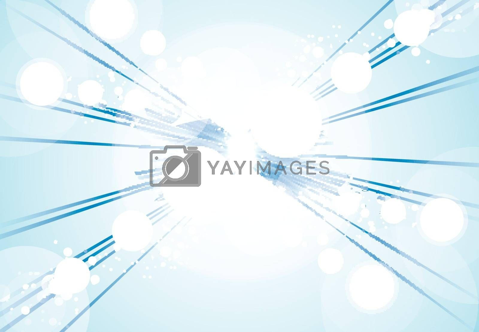Perspective Abstract bright blue lights and lines background with sparkle and flare. Vector illustration