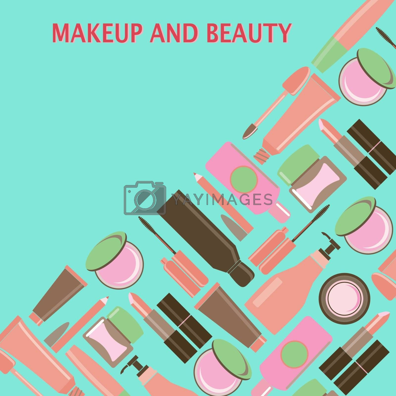 MakeUp and beauty Symbols, Cosmetics and fashion background with objects: lipstick, cream, brush and place for your text. Beauty store background