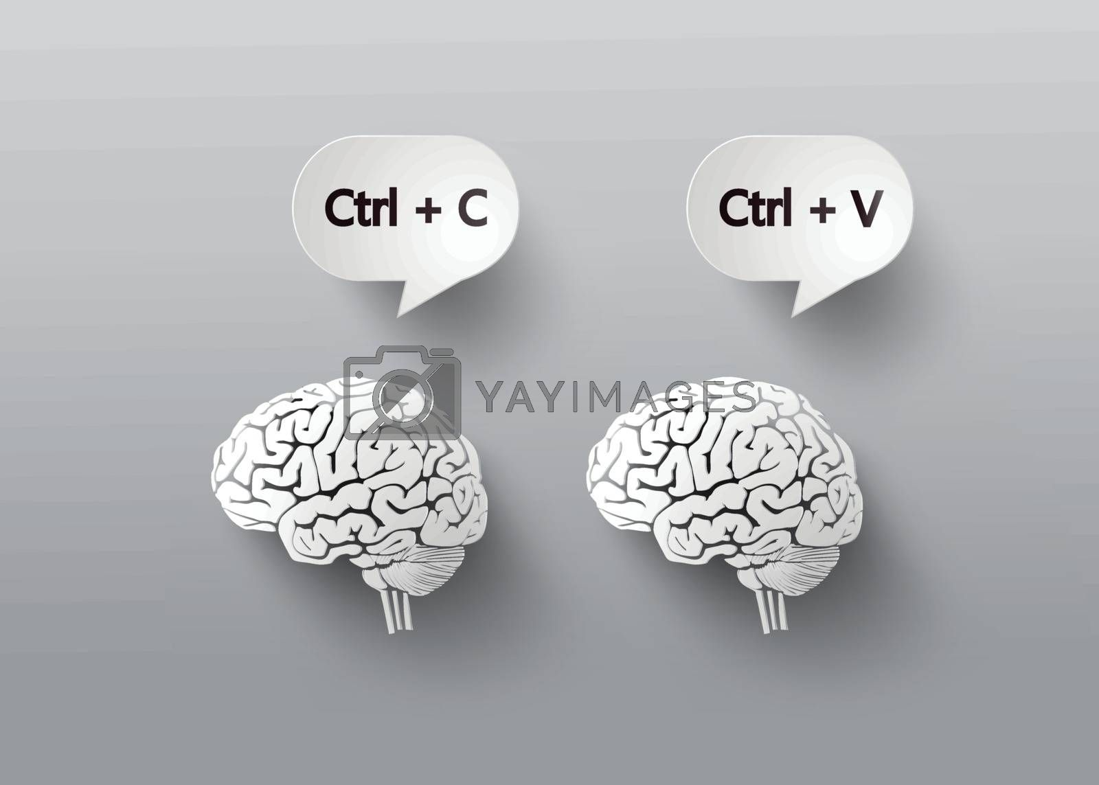 concept with brain.C and V for copy and paste.