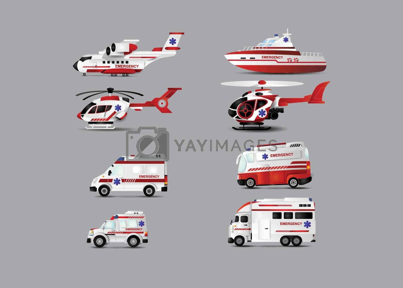illustration of transportation of ambulance set