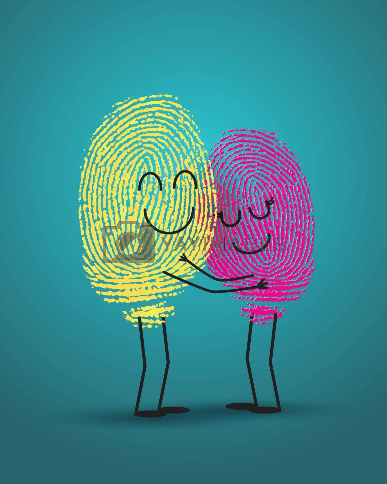 concept of love with fingerprint