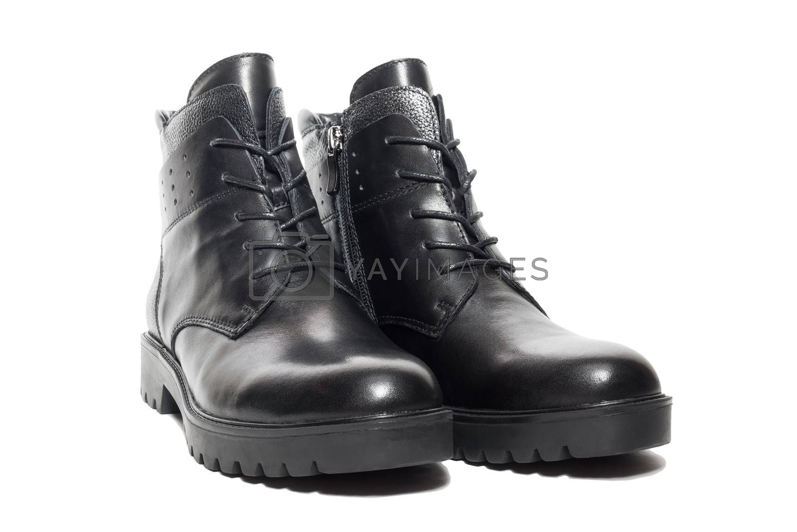Female winter leather shoes on a white background, isolated, studio