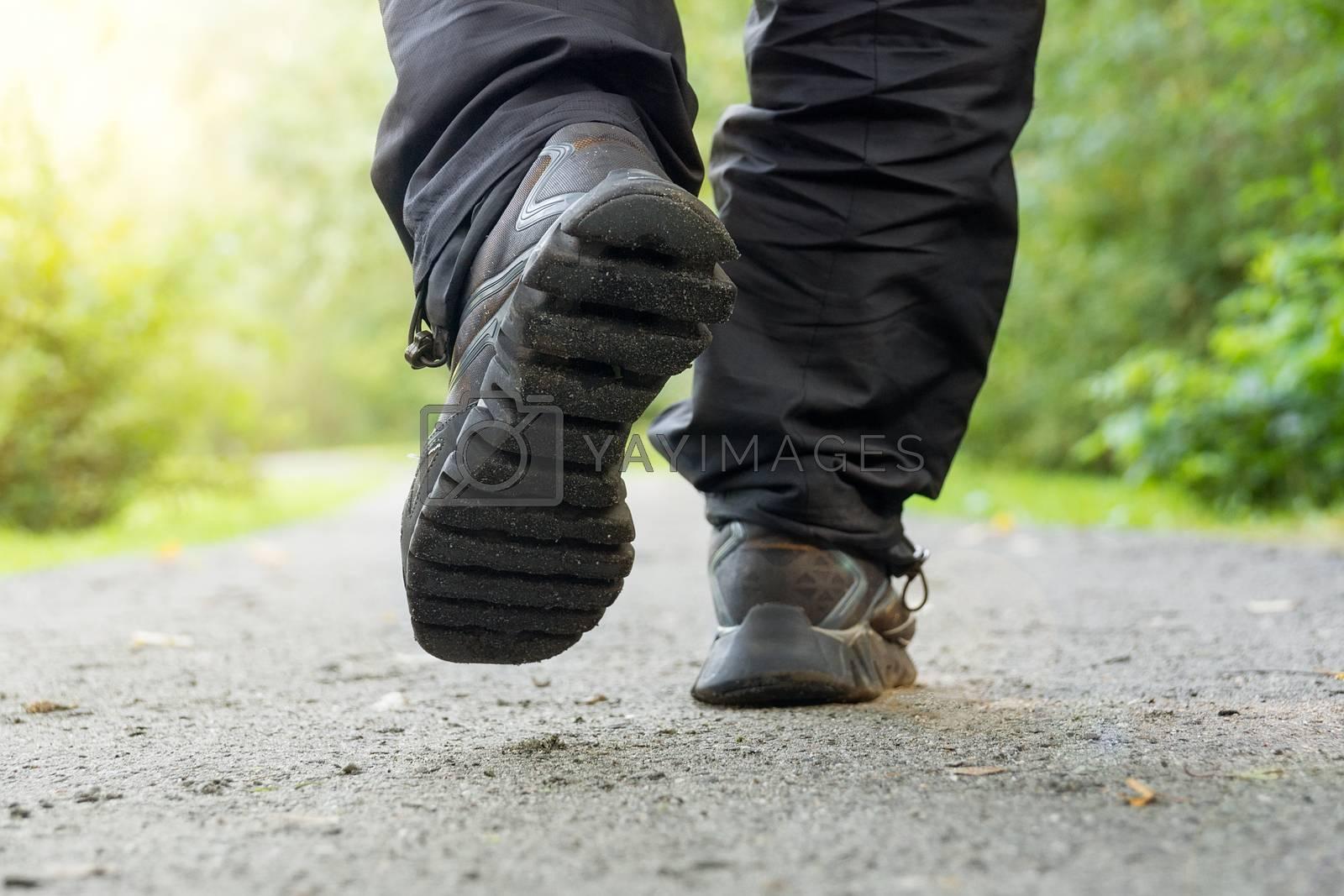 athlete runs around the park, running, sneakers, summer, autumn