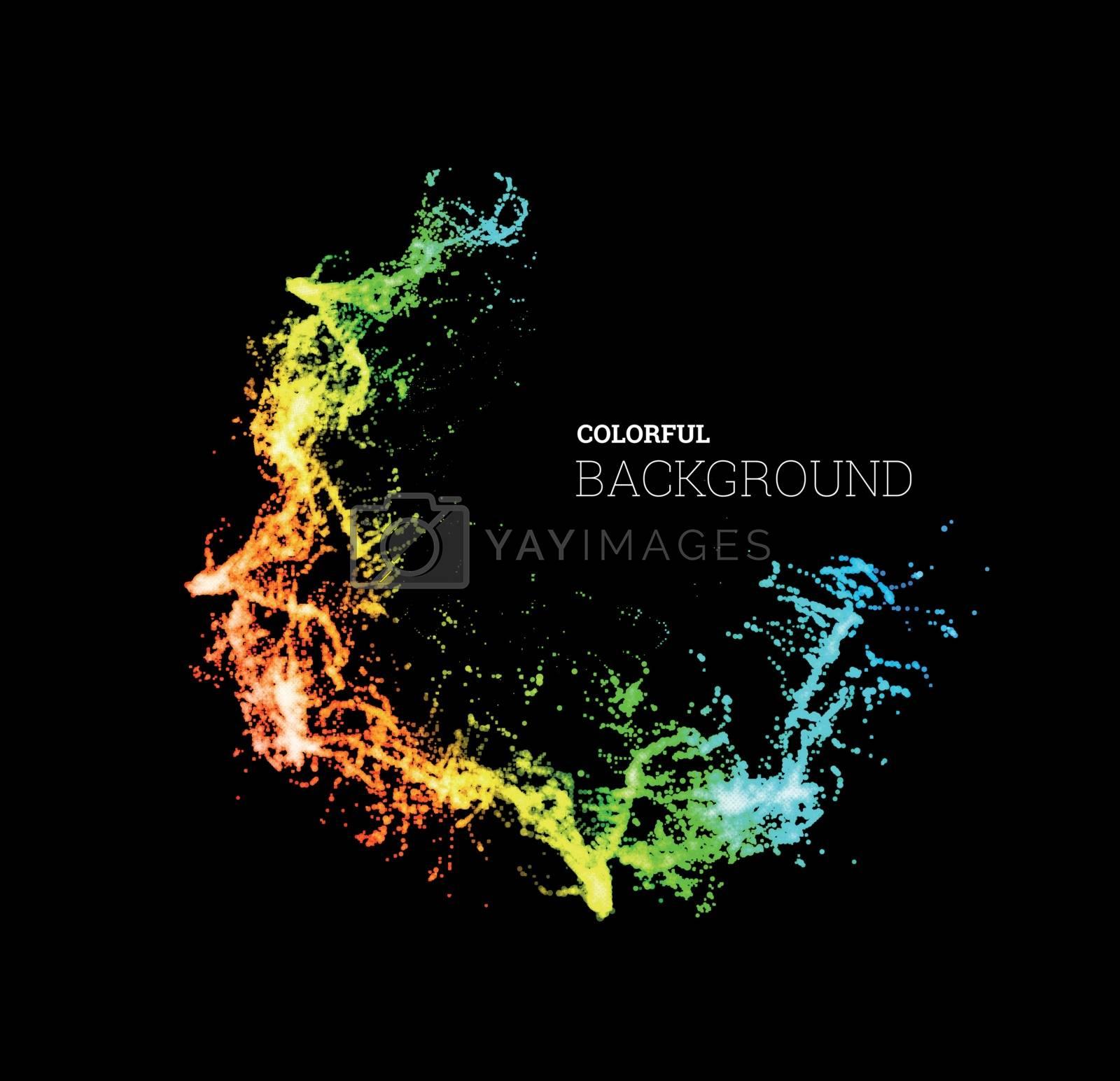 Splash paint, colorful multicolored background. Vector illustration on black background
