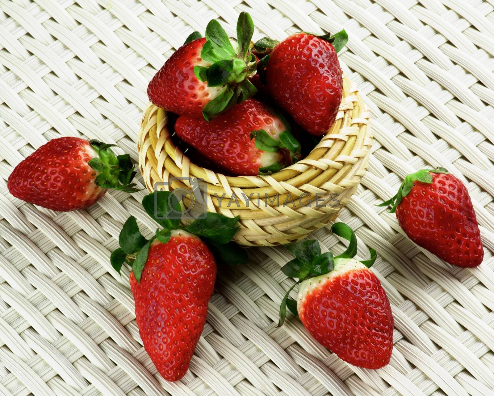 Arrangement of Big Ripe Strawberries in Wicker Bowl closeup on White Wicker background