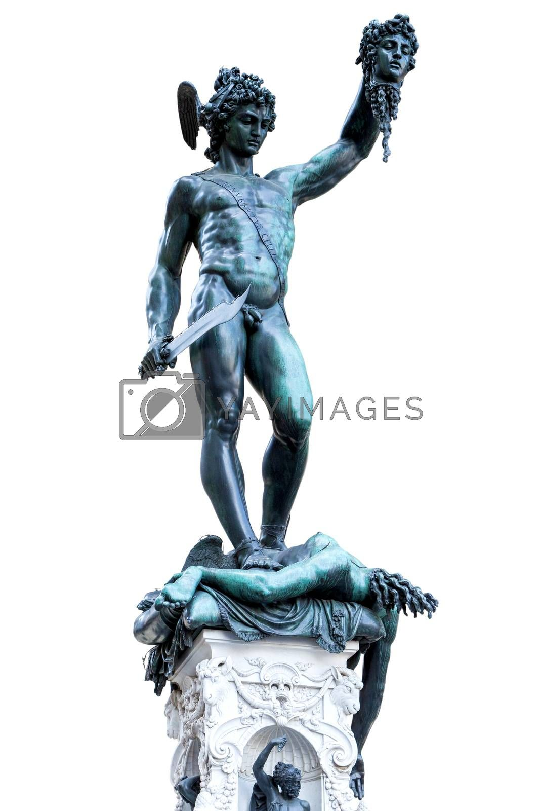 Statue of Perseus With the Head of Medusa in Piazza della Signoria, Florence, Italy. Bronze sculpture made by Benvenuto Cellini isolated on white background