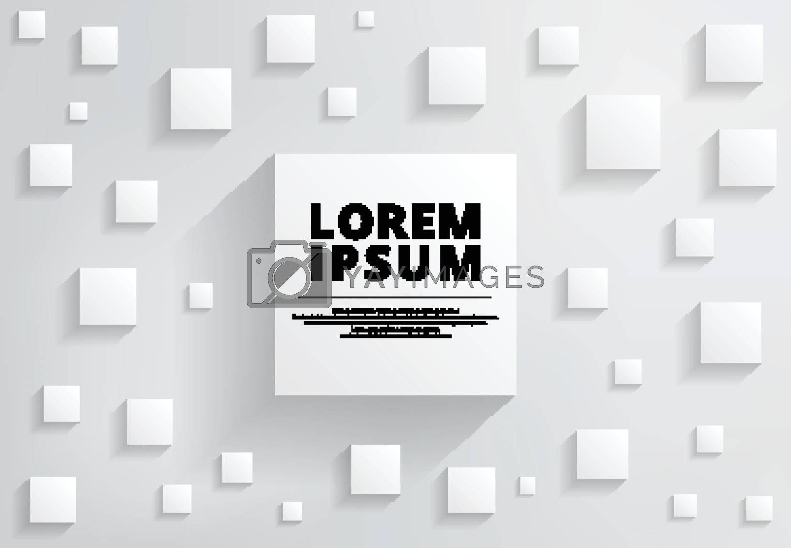 Abstract background white and gray modern square with shadow for copy space. Creative design. Vector illustration