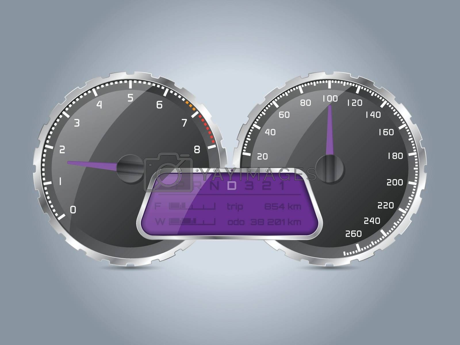 Analog speedometer design with digital lcd display