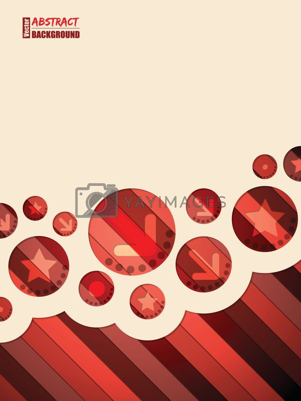 Abstract red brochure design with stars and arrows