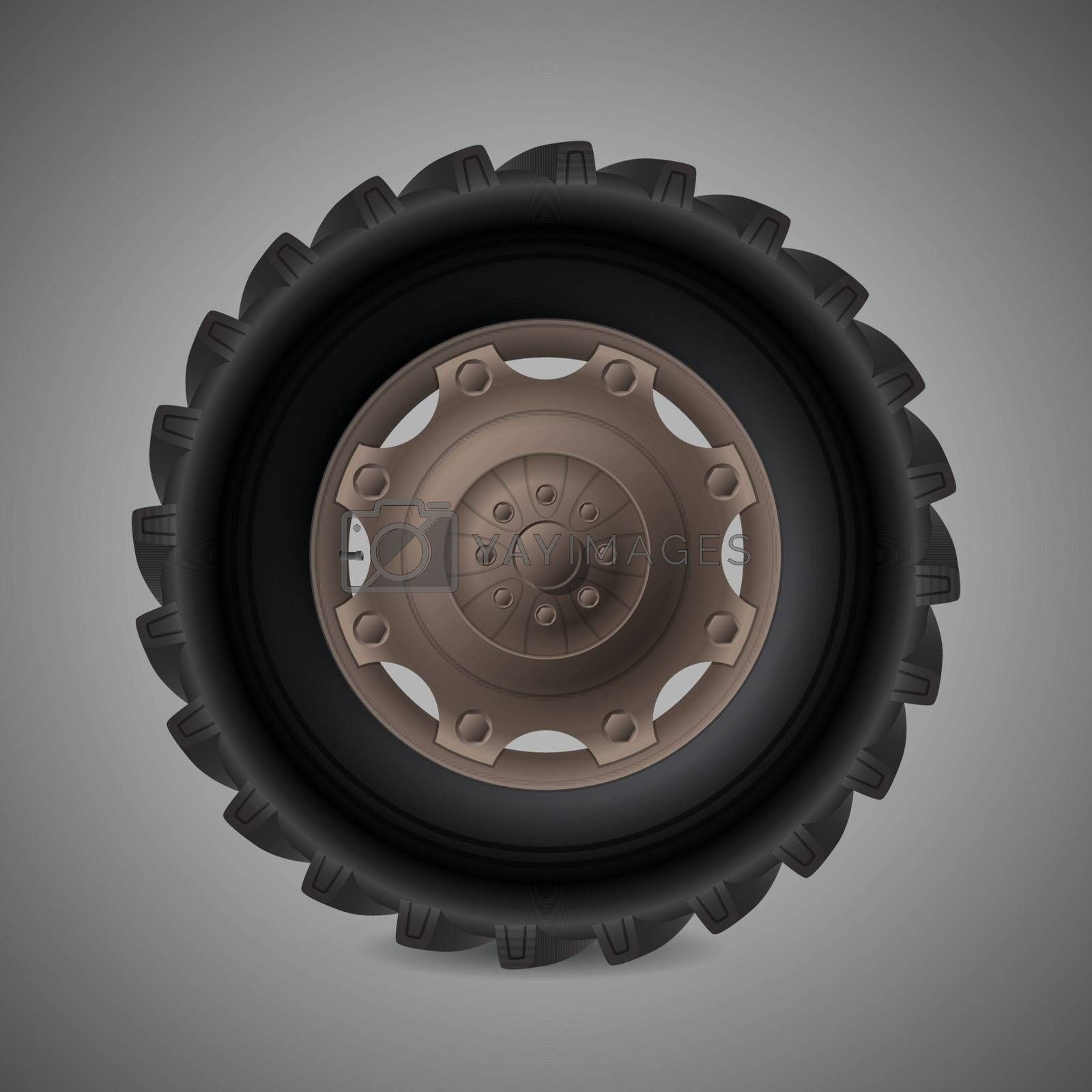 Realistic tractor wheel with nuts and bolts