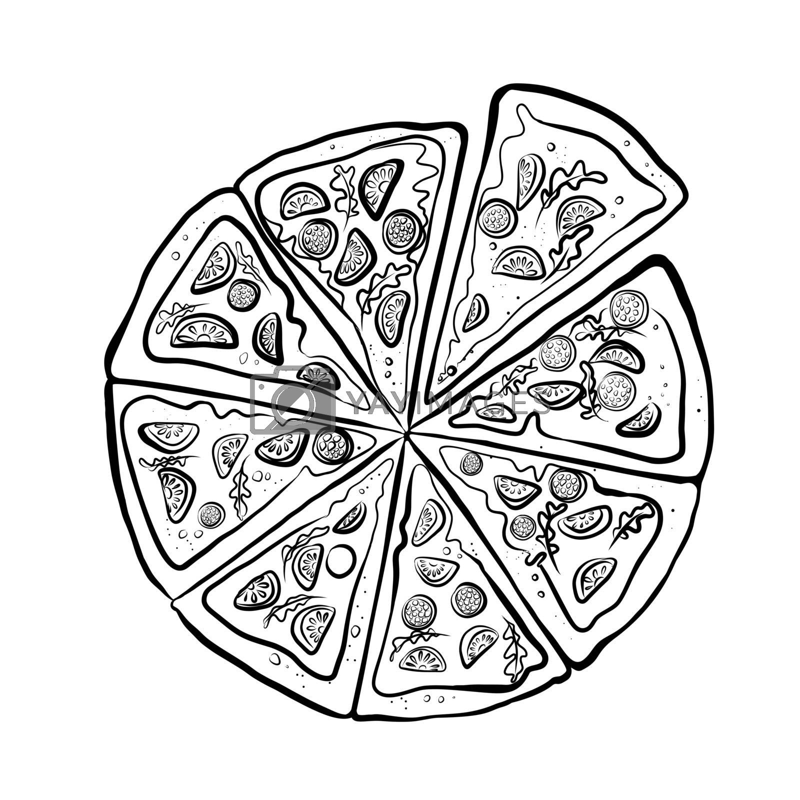Hand Drawn Sketch of Different Pizza Slices Set. Great for Poster, Menu, Box