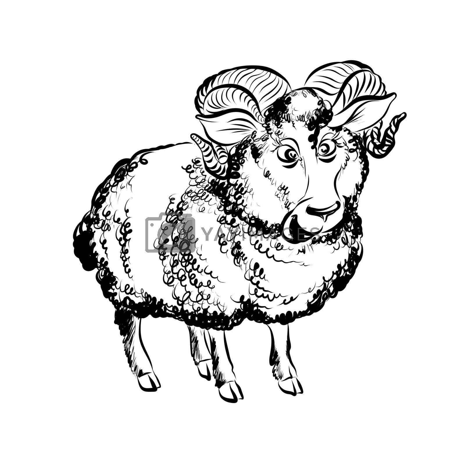 Hand Drawn Sketch of Cartoon Funny Lamb Character. Illustration on White Background