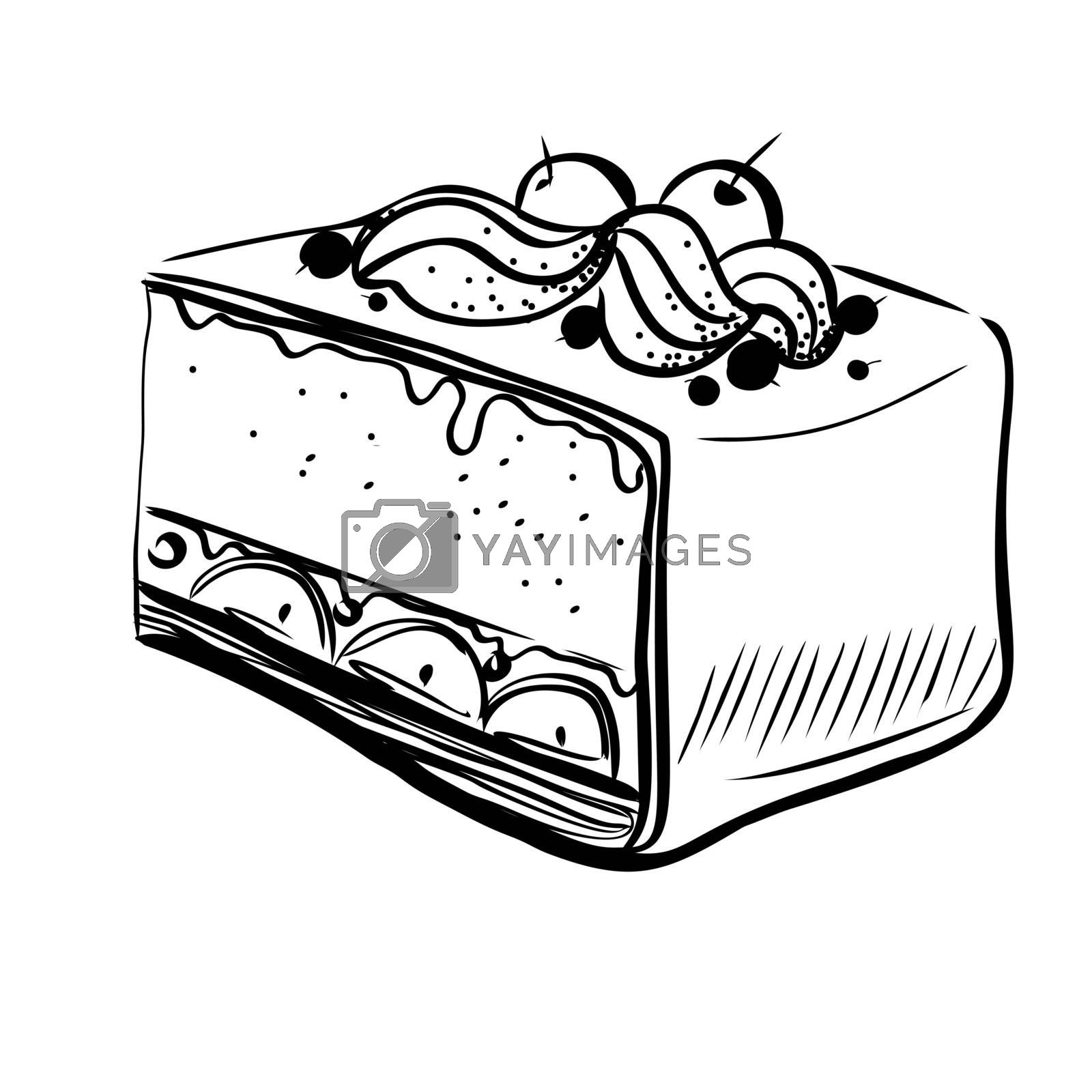 Hand Drawn Sketch of Black and White Piece of Cheesecake. Vintage Sketch. Great for Banner, Label, Poster
