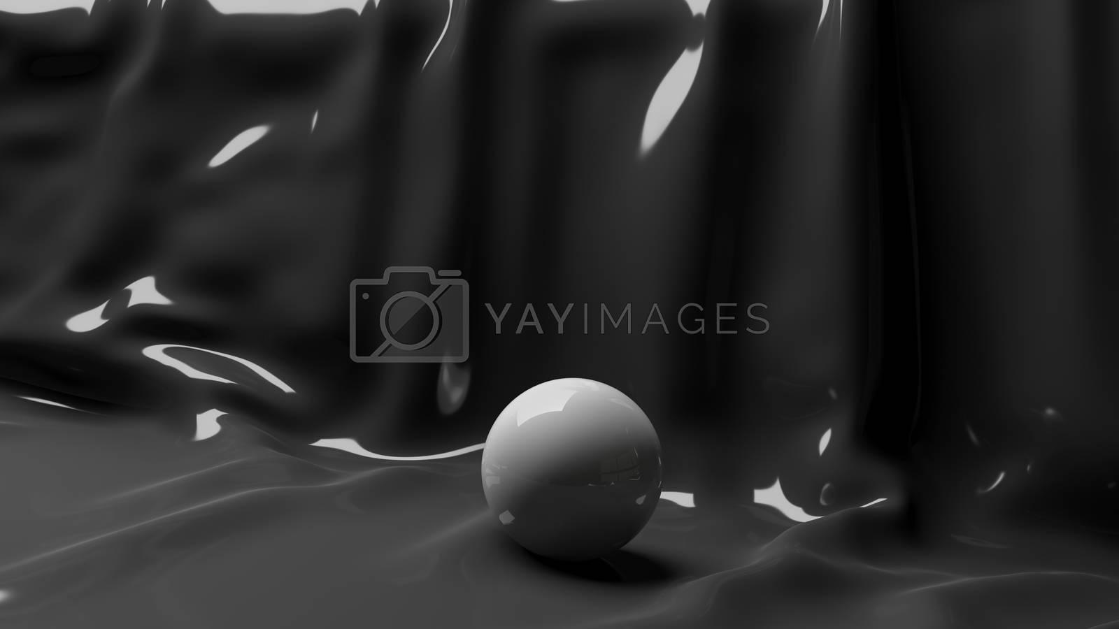 3d Illustration Brilliant White Ball on a Black Background