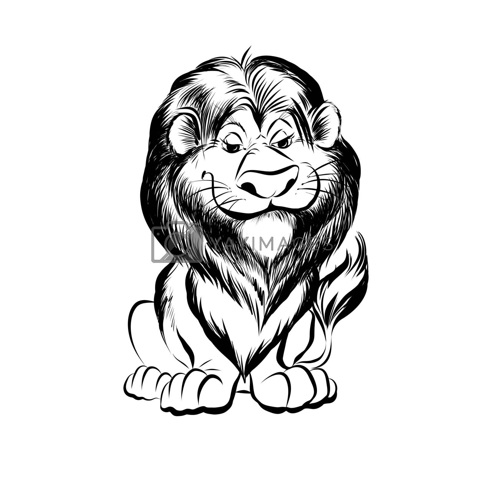 Hand Drawn Sketch of Cartoon Funny Lion Character. Illustration on White Background