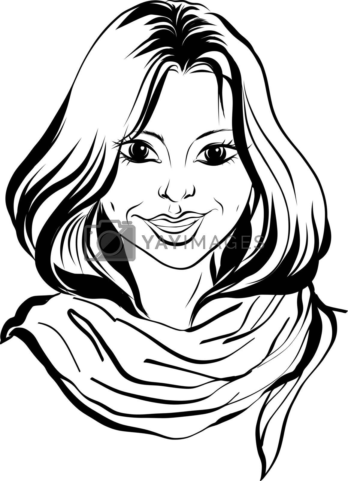 Single Sketch Female Face. Illustration on White Background