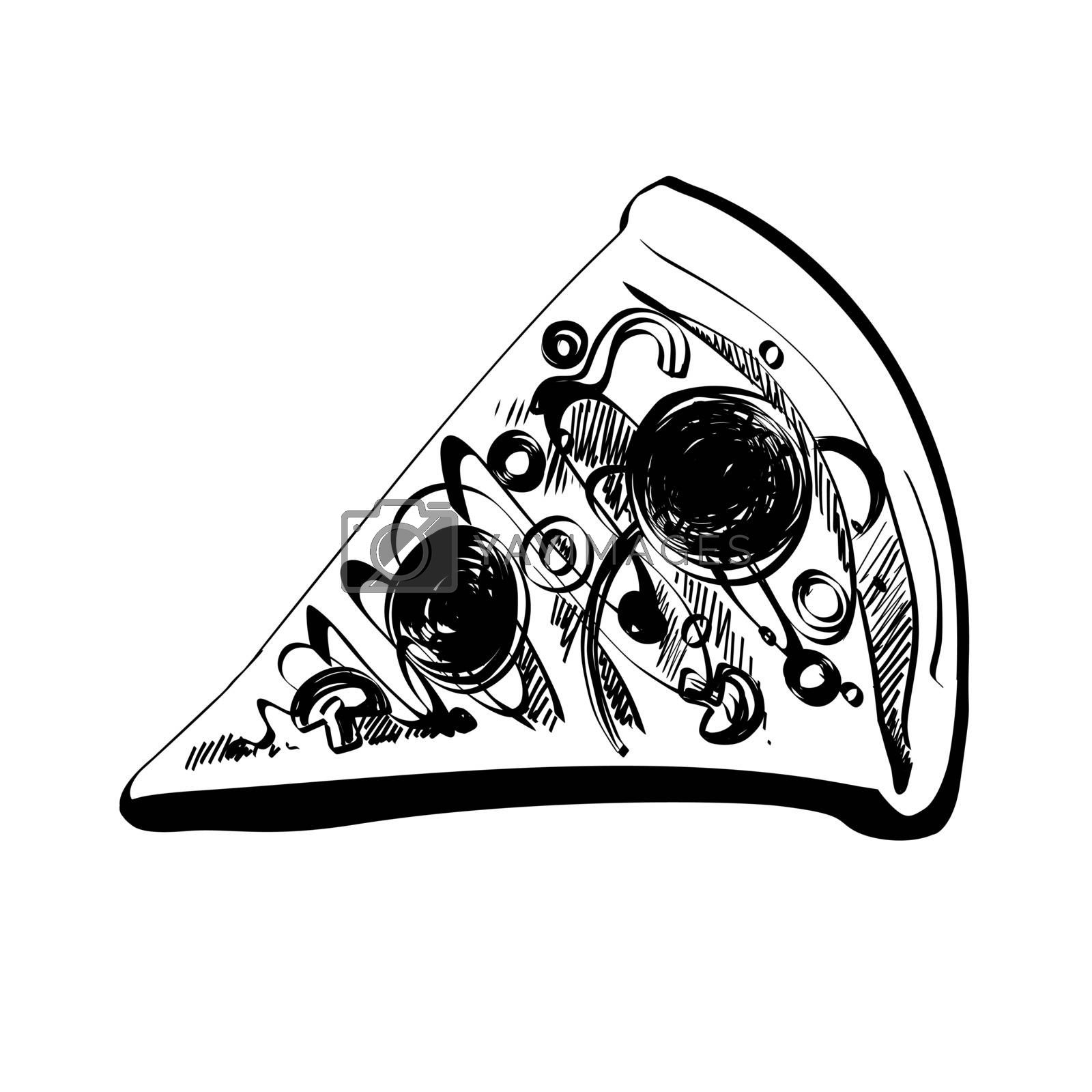Hand Drawn Sketch of Slice Pizza Pepperoni. Abstract Vintage Illustration for Poster, Menu, Box