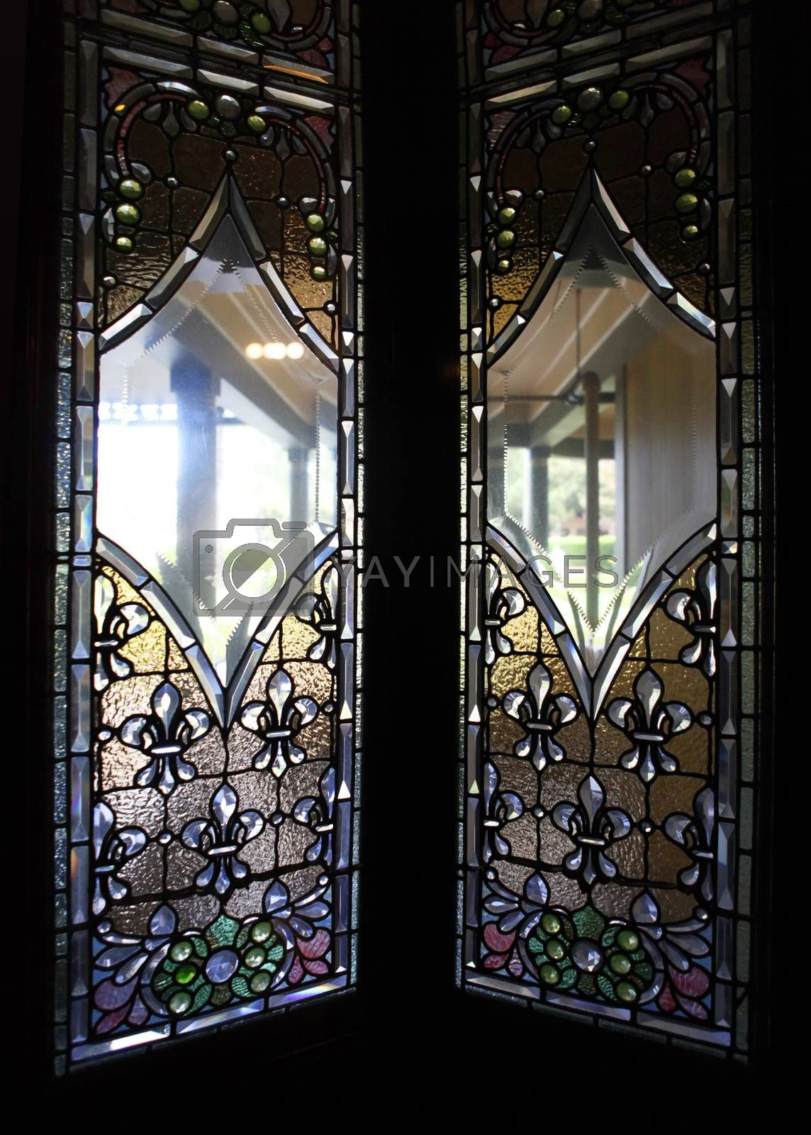 Stained-glass window the Winchester Mystery House - the house number 525 on Winchester Boulevard in San Jose