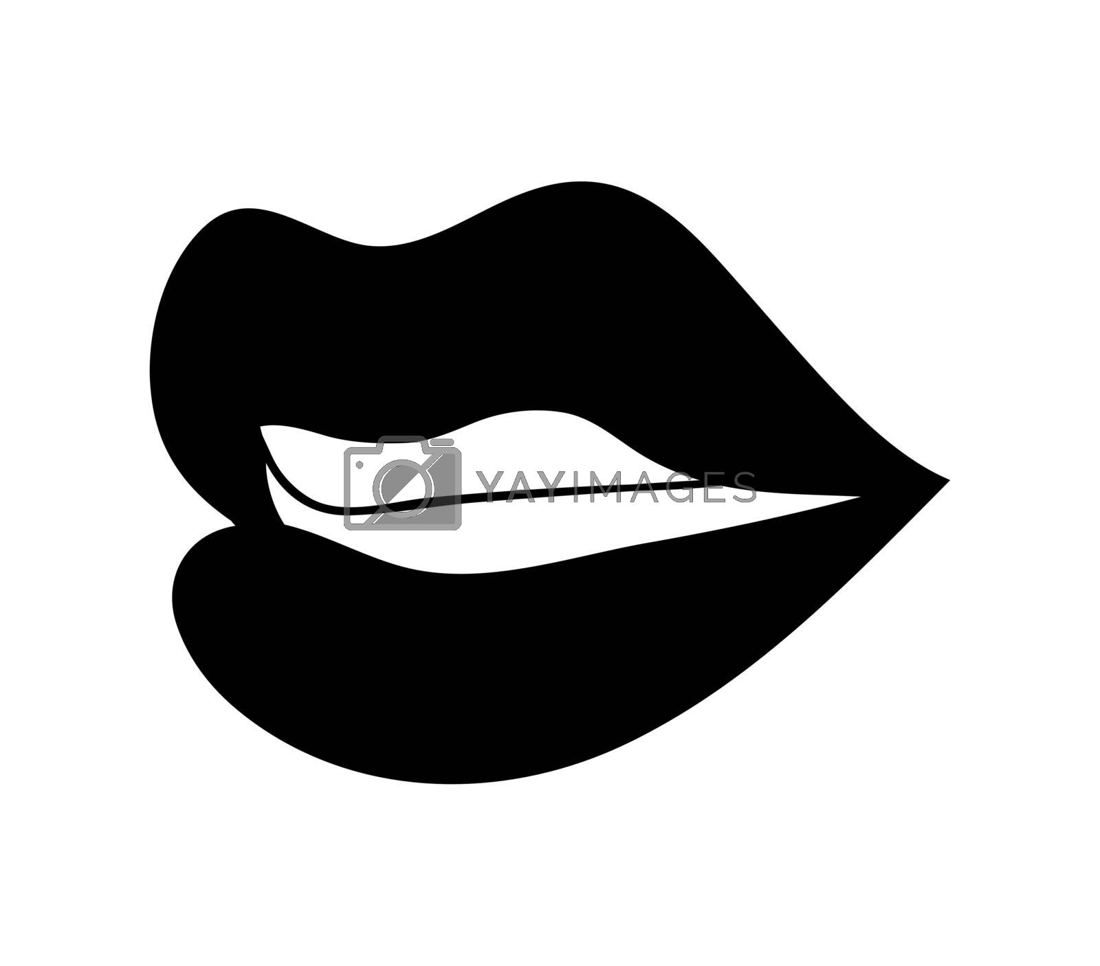lips with teeth cartoon vector symbol icon design. Beautiful illustration isolated on white background