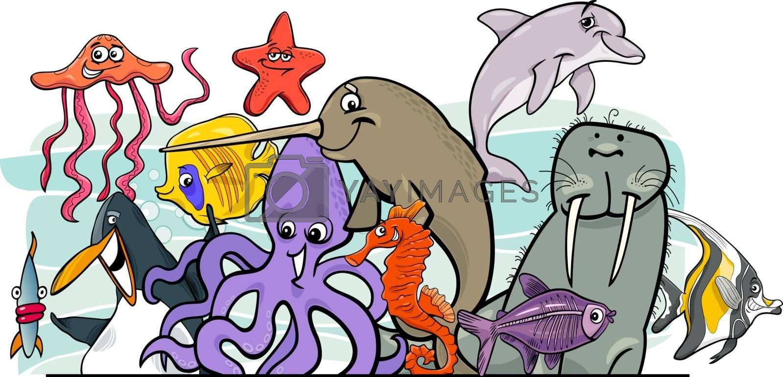 Cartoon sea life animal characters group by izakowski