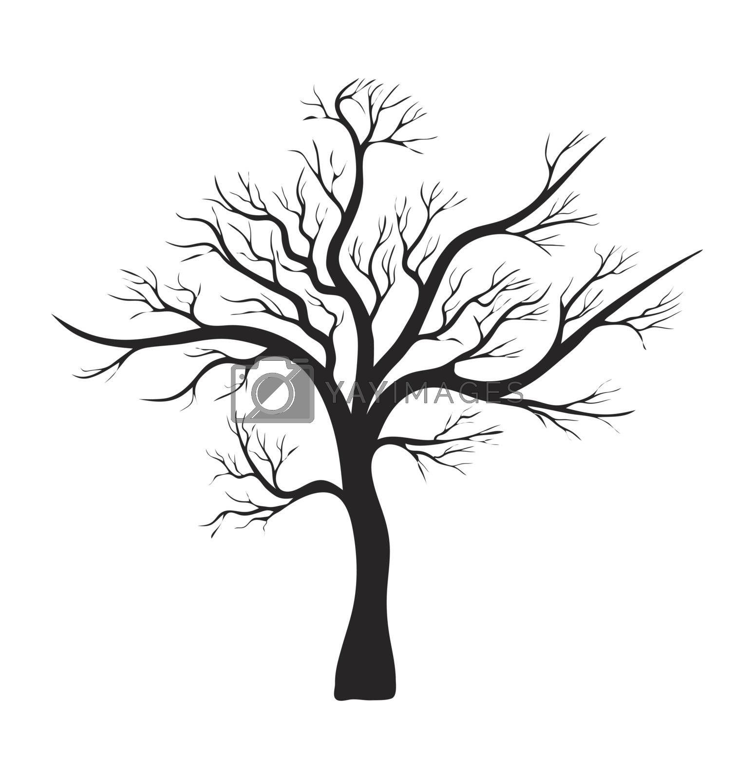 bare tree silhouette vector symbol icon design. Beautiful illustration isolated on white background