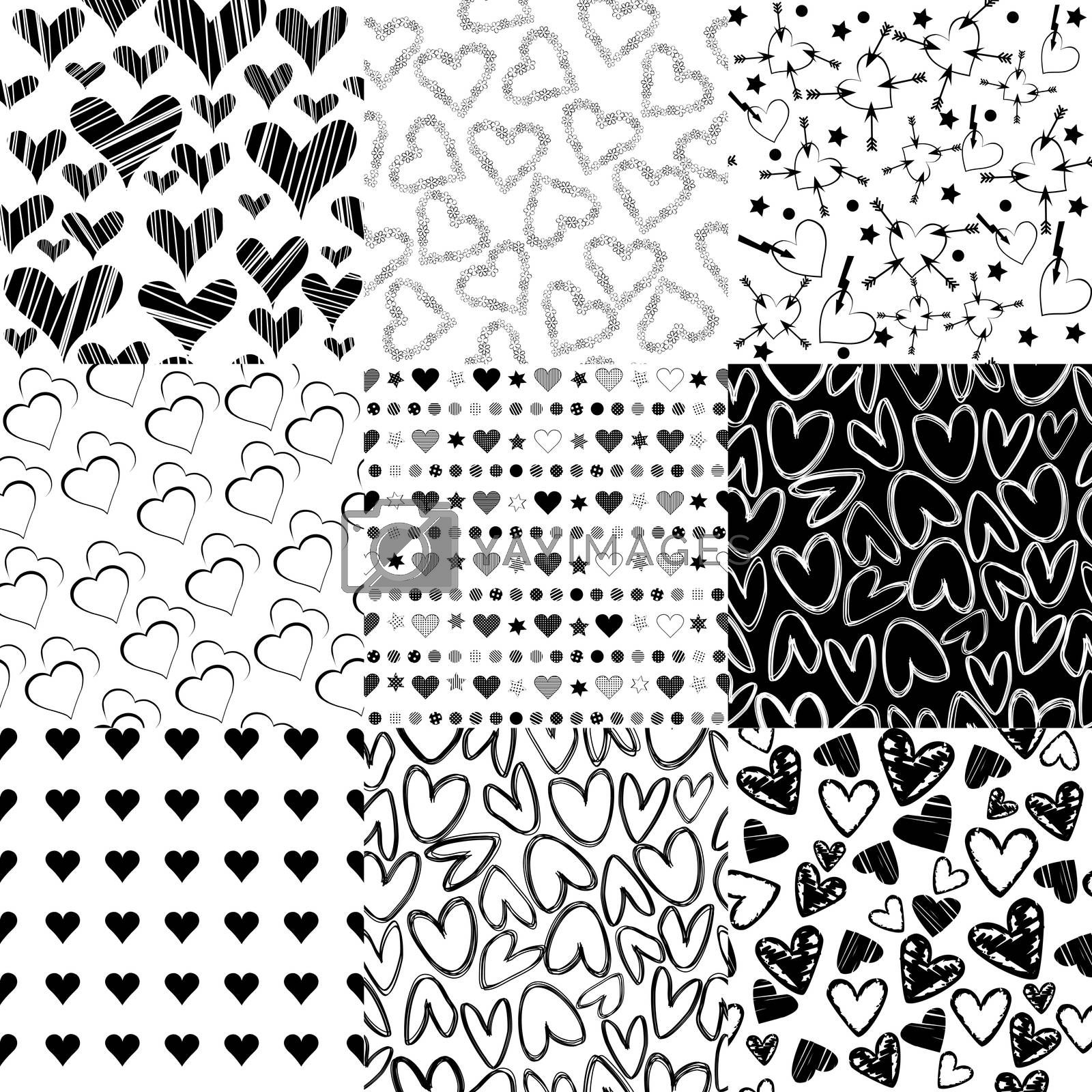Black and white patterns with hearts for Valentines day
