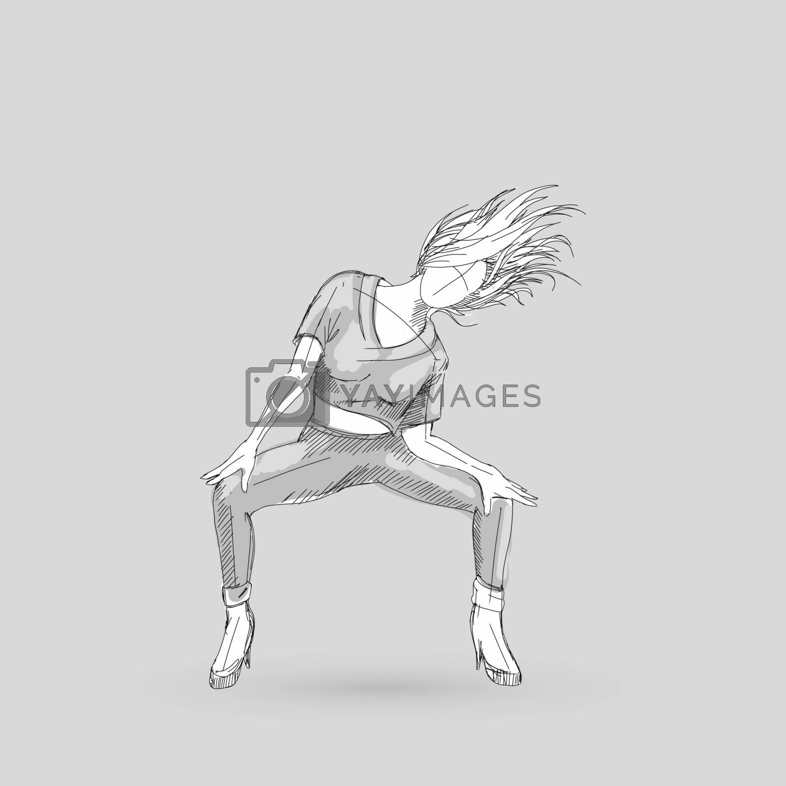 Sketch of a Go-go Dancer Girl on a Gray Background