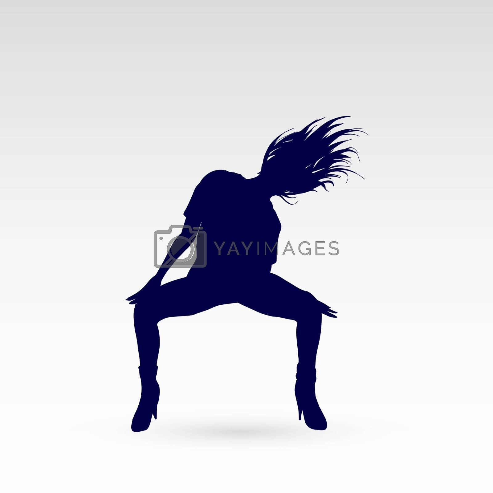 Silhouette of a Go-go Dancer Girl on a Gray Background