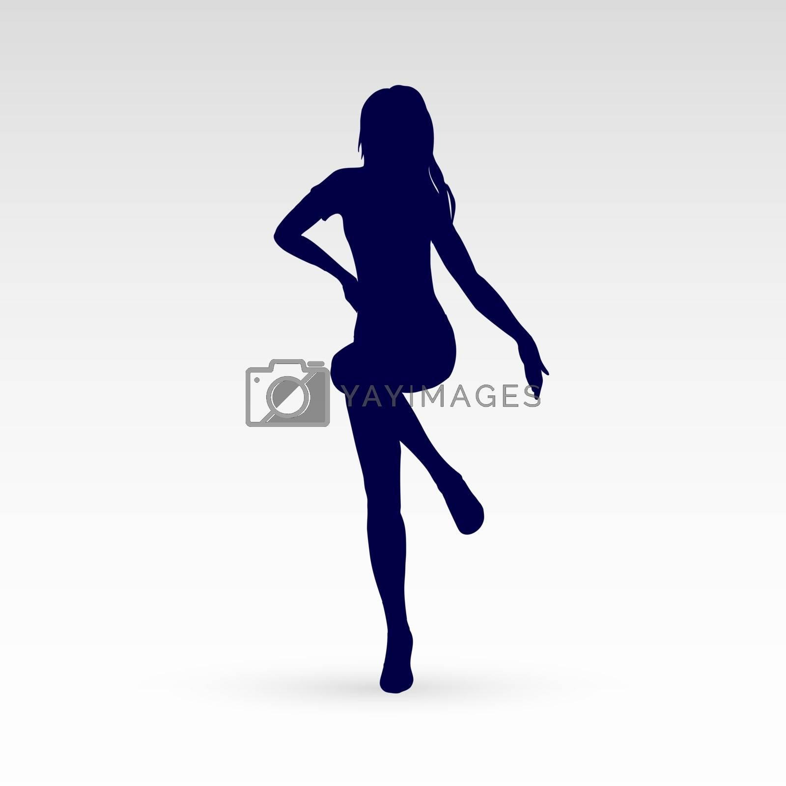 Modern Style Dancer Posing Silhouette of a Go Go Dancer on a Gray