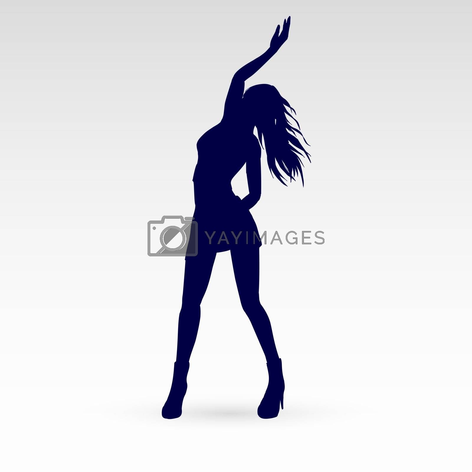 Silhouette of a Modern Dancer Poses in Front of the Gray