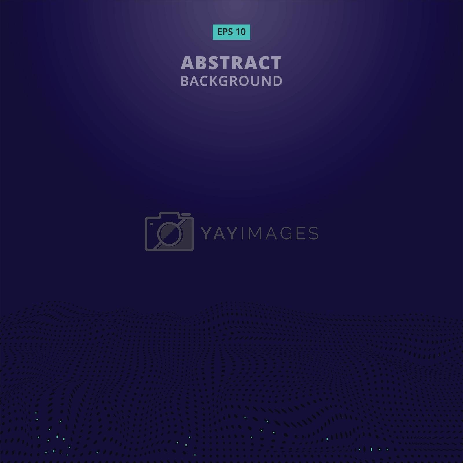 Abstract digital blue dots wave with flowing particles. Cyber or technology background.Vector illustration.