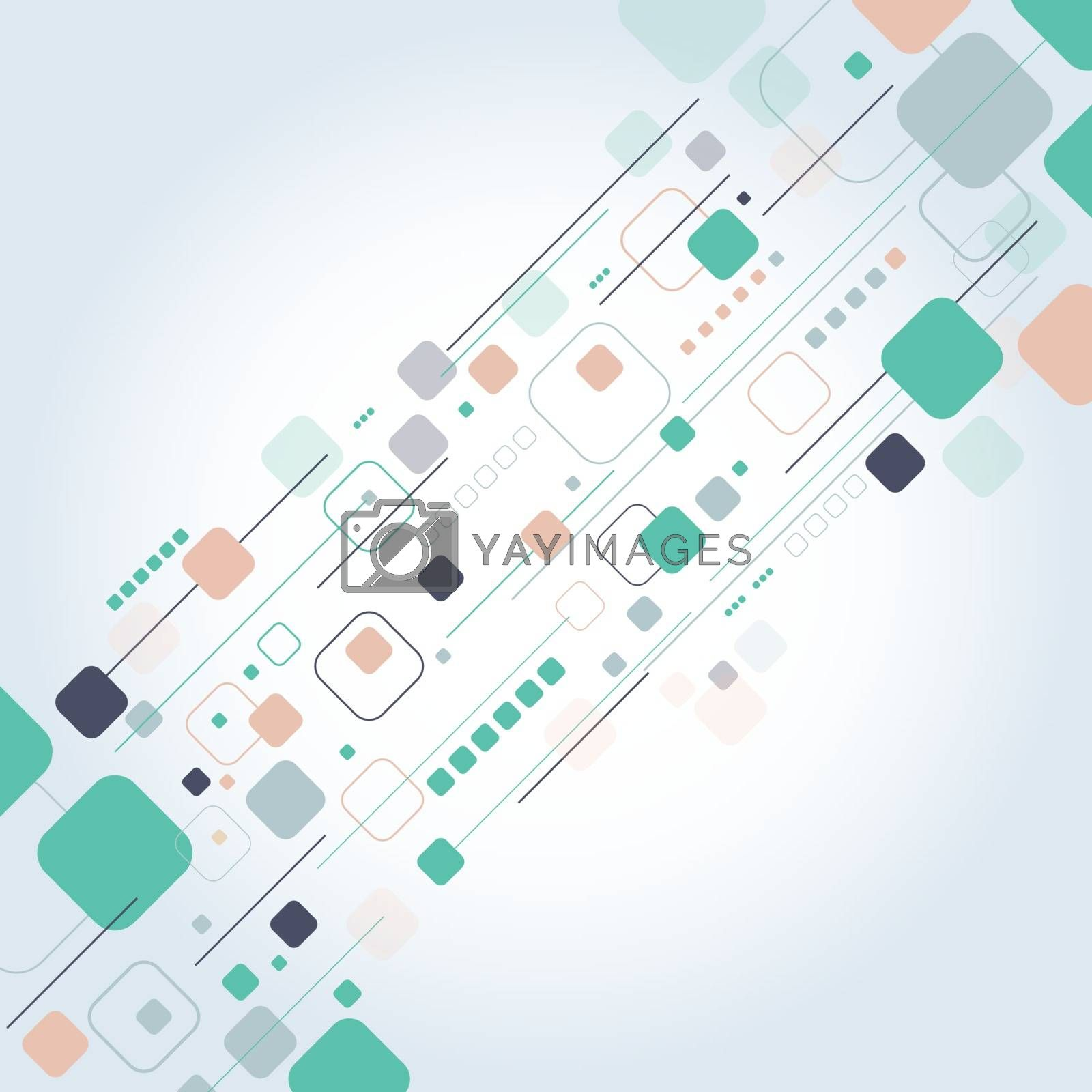 Abstract technology square rounded with lines colorful background for business, Vector illustration